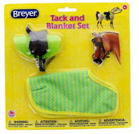 Breyer Horses Classic Western Saddle Tack & Blanket Set, Green Stripes Classic 1:12 Scale W61133