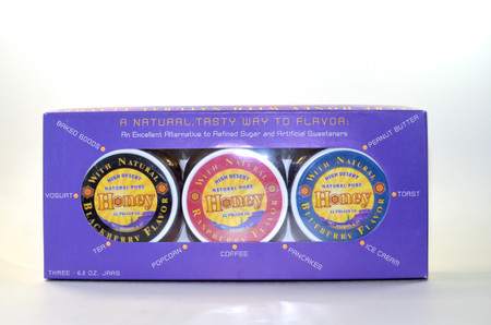 Flavored Honey Gift Packs - Blackberry, Raspberry, Blueberry