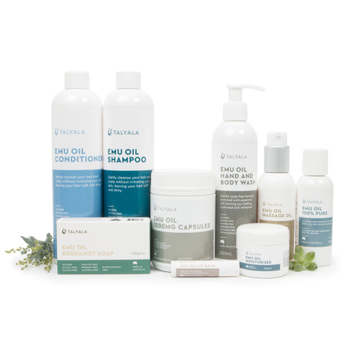Pack Nine: 100ml Pure Oil, Capsules, 100g Moisturiser, Body Wash, Soap, Lip Balm, Shampoo & Conditioner, Massage Oil