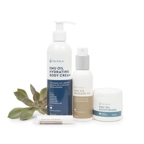 Pack Six: Moisturiser, Hydrating Body Cream, Massage Oil & Lip Balm