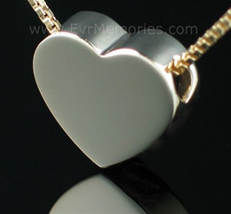 2 Person 14K Gold  Sliding Heart Funeral Jewelry for Couples