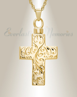 14K Gold Etched Cross Memorial Locket