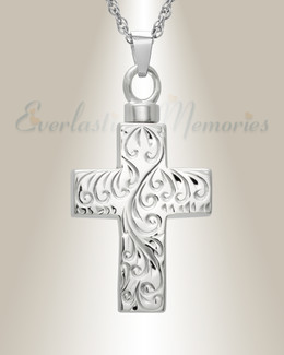 14k White Gold Etched Cross Cremation Urn Keepsake