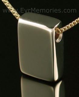 14K Gold Sliding Rectangle Memorial Locket