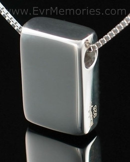 Sterling Silver Sliding Rectangle Cremation Urn Keepsake