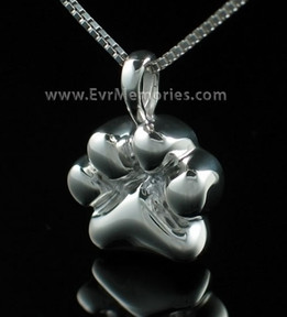 Sterling Silver Dog Paw Jewelry Urn