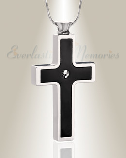 Black Stainless Dependable Cross Cremation Jewelry