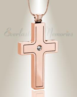 Rose Gold Dependable Cross Keepsake Urn Jewelry