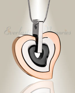 Rose Gold and Black Sincere Heart Urn Pendant