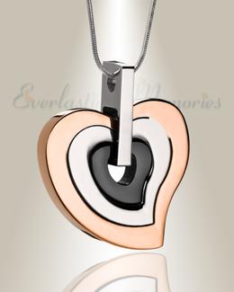 Rose Gold and Black Sincere Heart Urn Pendant