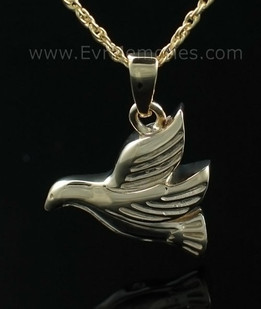 Dove Flying Urn Keepsake - 14K Gold Plated over Sterling Silver