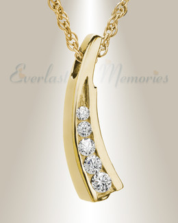 14K Gold Plated Leaf with Swarkoski Stones Funeral Jewelry