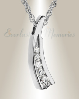 14K White Gold Leaf with Cubic Zirconia Locket Urn