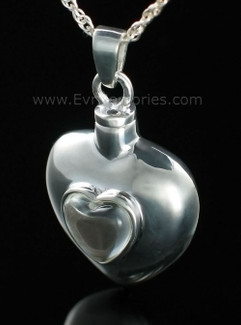 Sterling Silver Heart with Glass Heart Cremation Keepsake