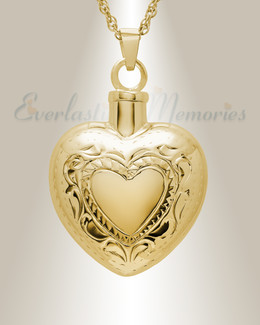 14K Gold Etched Double Heart Urn Keepsake