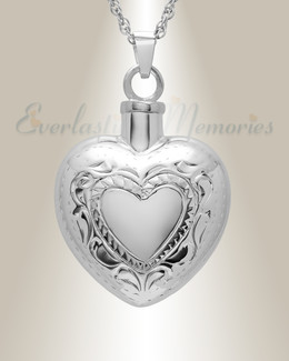 14k White Gold Etched Double Heart Cremation Urn Keepsake