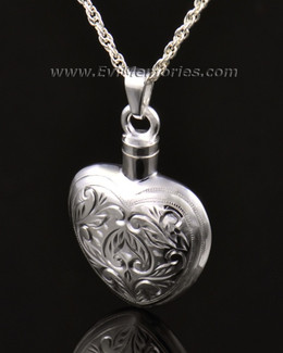 14k White Gold Etched Heart Cremation Keepsake