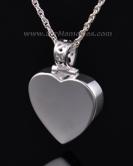 14K White Gold Grand Heart Remembrance Pendant