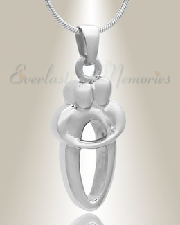 14K White Gold Two People Memorial Locket