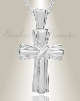 14K White Gold Antique Wrapped Cross Ashes Jewelry