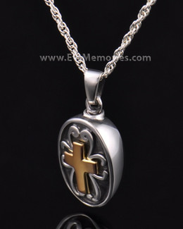 Sterling Oval with Cross Memorial Locket
