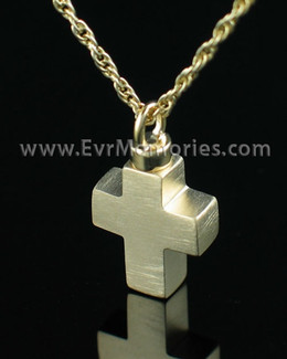 14K Gold Plated Mini Cross Cremation Urn Keepsake