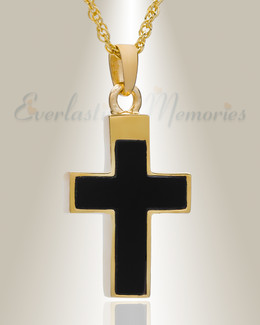 14K Gold Cross with Onyx Stone Urn Necklace