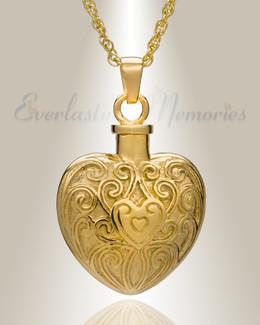 14K Gold Filigree Love Heart Urn Necklace