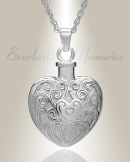 14K White Gold Filigree Love Heart Memorial Jewelry
