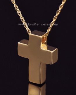 14K Gold Plated Sliding Cross Memorial Locket