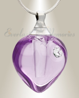 Glass Locket Violet Iceland Heart Cremation Keepsake