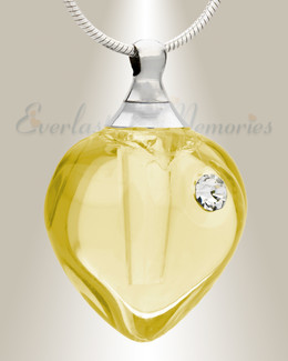 Glass Locket Yellow Iceland Heart Cremation Keepsake