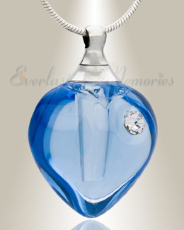 Glass Locket Bluebell Heart Ash Locket