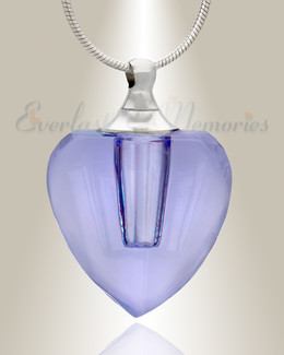 Glass Locket Violet Squared Heart Memorial Jewelry