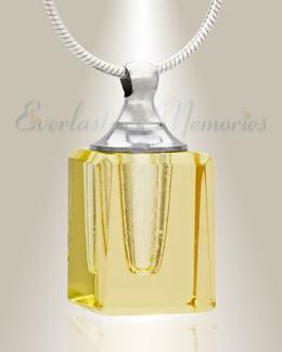 Glass Locket Yellow Contentment Jewelry Urn