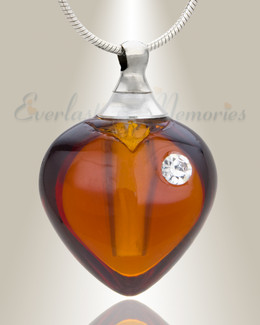 Glass Locket Chestnut Heart Memorial Jewelry