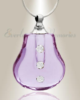 Glass Locket Violet Trickle Cremation Necklace