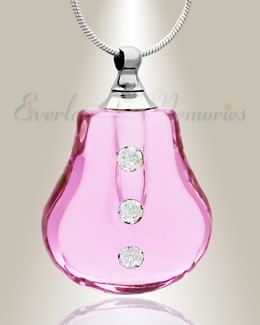 Glass Locket Pink Trickle Ashes Pendant