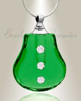 Glass Locket Emerald Trickle Cremains Locket