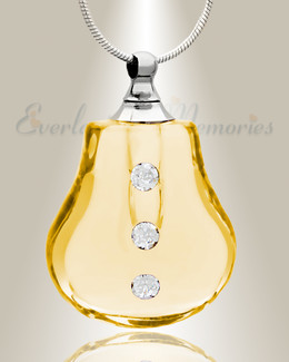 Glass Locket Yellow Trickle Remembrance Pendant