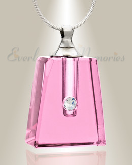Glass Locket Pink Tribute Cremation Ash Jewelry