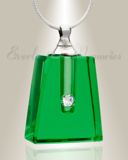 Glass Locket Emerald Tribute Keepsake Pendant