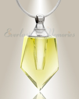 Glass Locket Yellow Dedicated Memorial Necklace