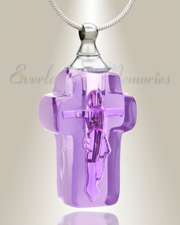 Glass Locket Violet Honorable Cross Urn Locket