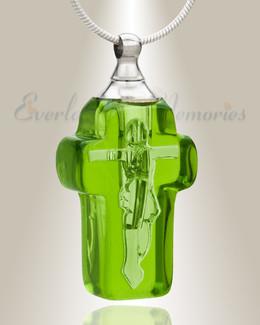Glass Locket Emerald Honorable Cross Ash Locket
