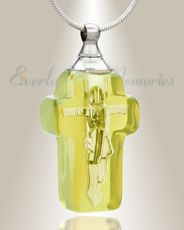 Glass Locket Yellow Honorable Cross Necklace Urn