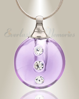 Glass Locket Violet Stability Remembrance Jewelry