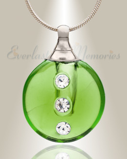 Glass Locket Emerald Stability Jewelry Urn