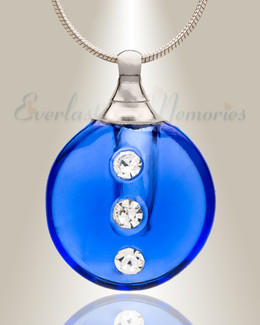 Glass Locket Blue Stability Keepsake Urn Jewelry