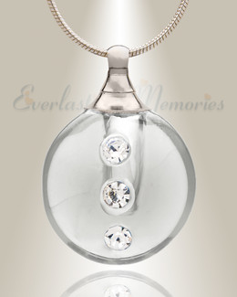 Glass Locket Clear Stability Cremation Ash Jewelry